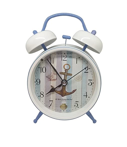 4 Inch Old Fashioned Twin Bell Alarm Clock For Kids  White Home Table Wake  Up