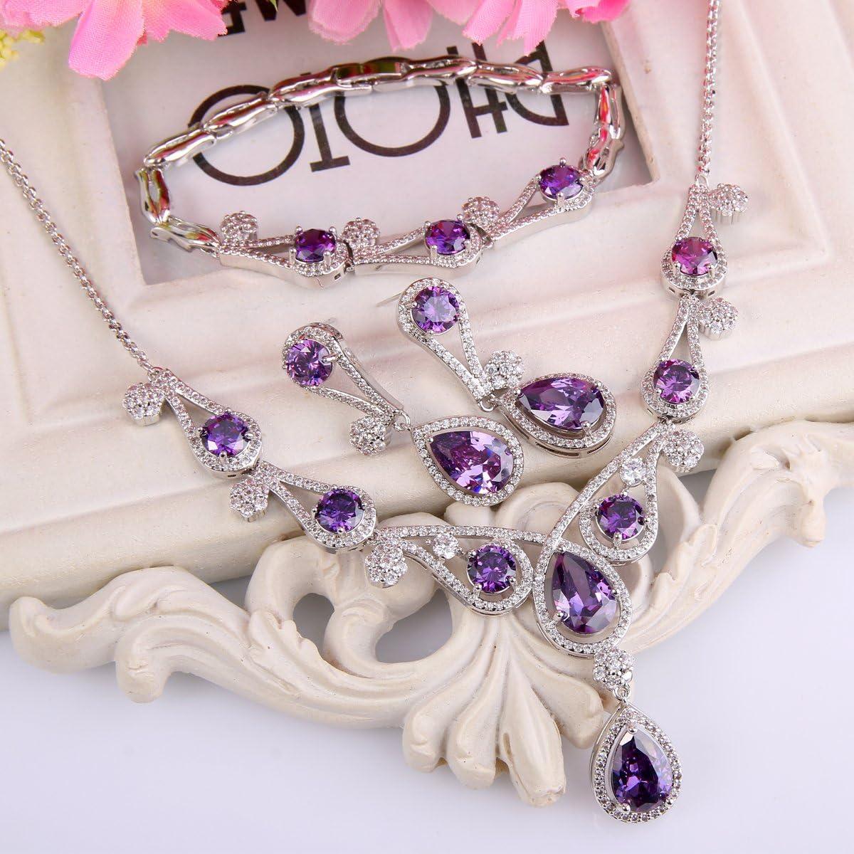 Ever Faith pour Femme Zircone Creux Goutte deau Parure Collier+Boucle doreilles+Bracelet Ton dargent