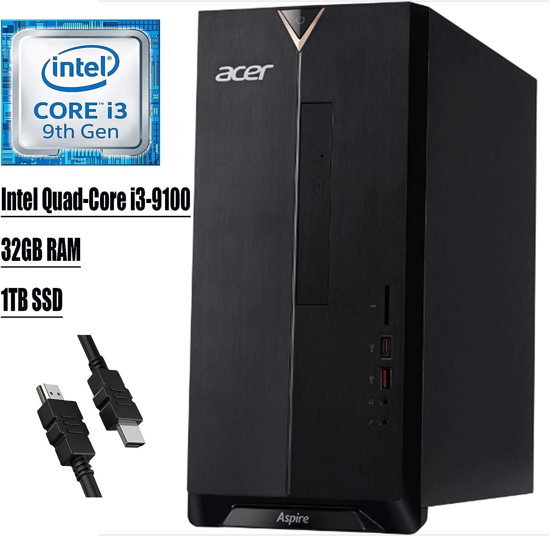 2020 Flagship Acer Aspire TC Desktop Computer 9th Gen Intel Quad-Core i3-9100 (>i7-7700T) 32GB RAM 1TB SSD DVD Writer USB 3.1 Type-C 802.11ac WiFi Bluetooth HDMI Win 10 + iCarp HDMI Cable