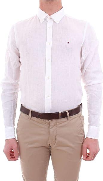 Tommy Hilfiger Hombre – Camisa Button Down de Lino Blanco