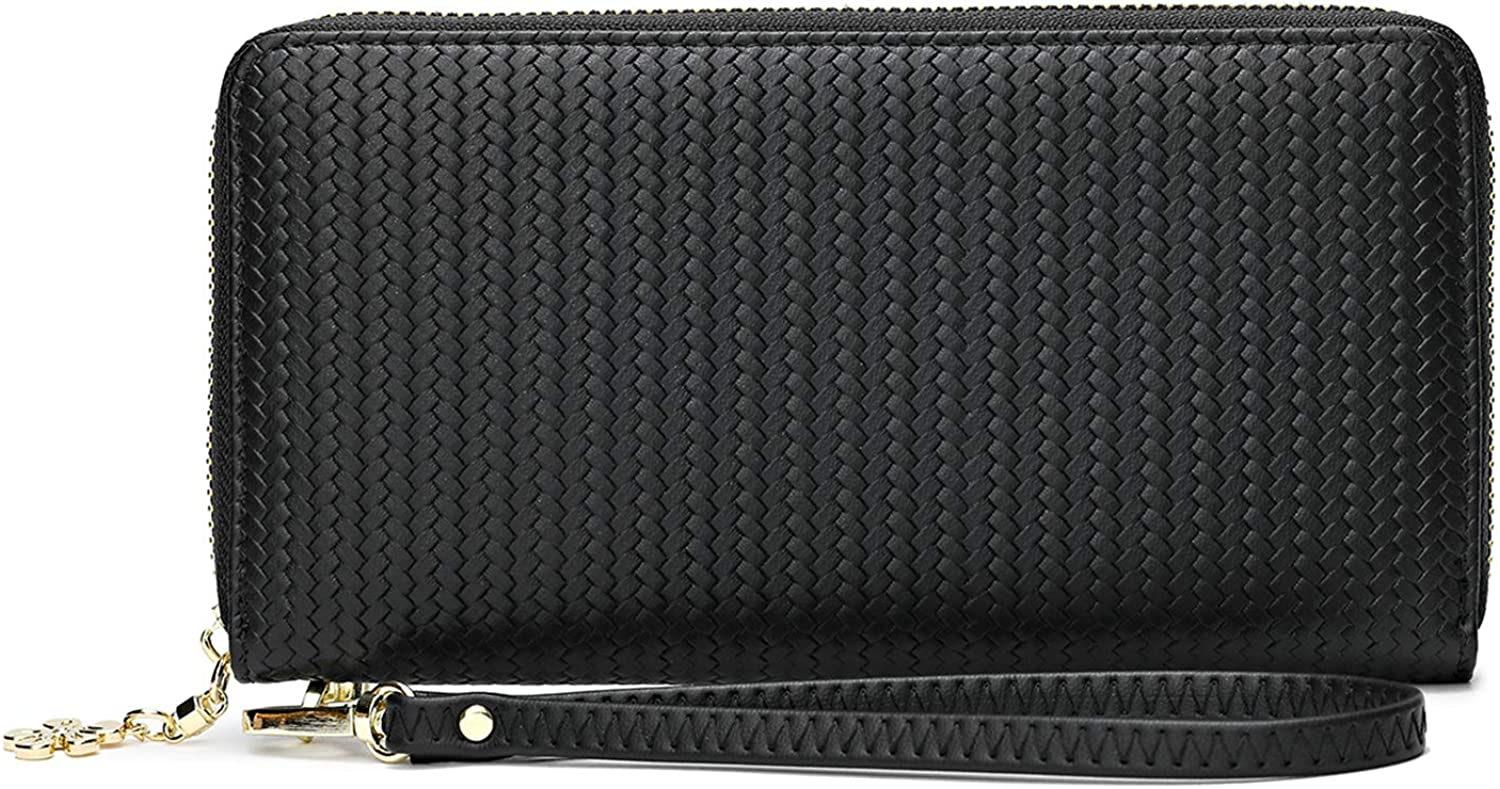 Women leather Wallet RFID Blocking Phone Wristlet Clutch With Strap