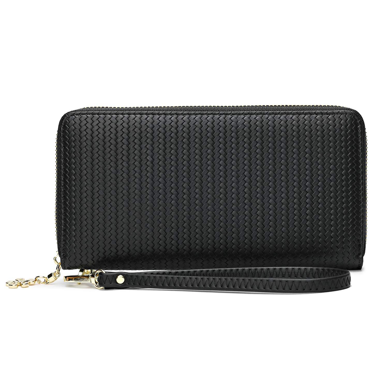 Women Soft Vegan leather Wallet RFID Blocking Phone Wristlet Clutch With Strap