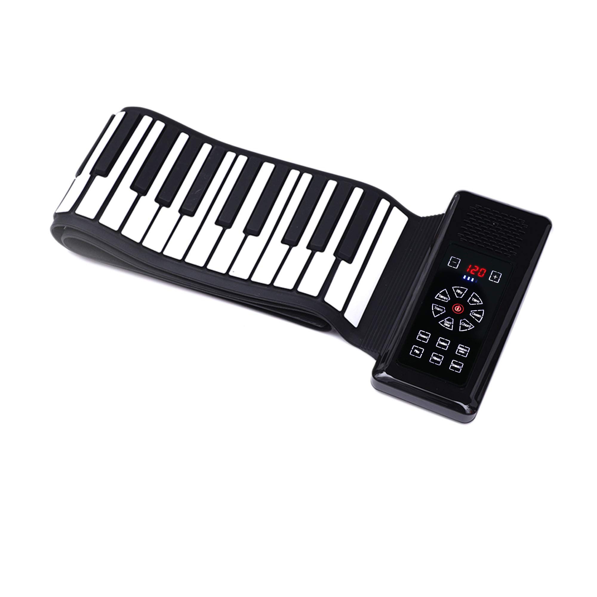 New iLearnMusic Electronic Roll Up Piano Keyboard with Touch Screen Control Center, Portable Keyboard Piano, Premium Grade Silicone & Amplifying Speakers (88 Keys, Black) by iLearnMusic