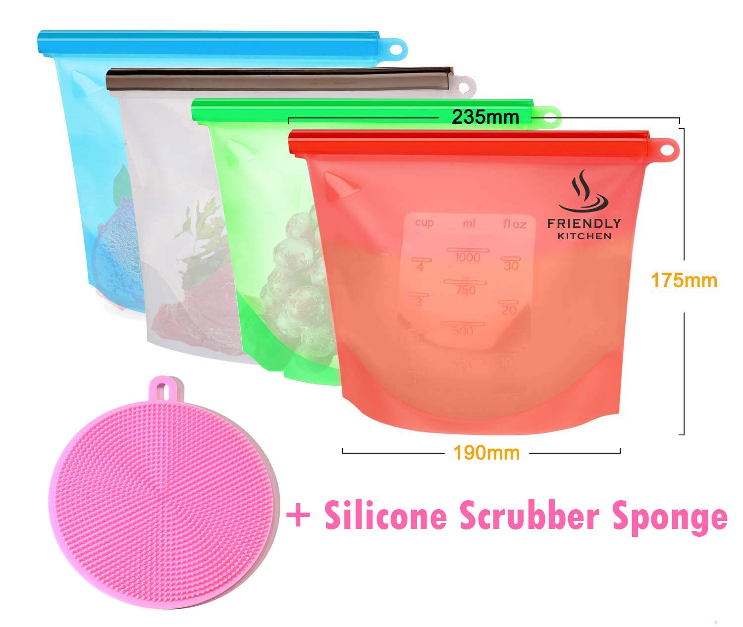 FRIENDLY KITCHEN Reusable Silicone Food Storage Bag 4 Pack - Food Preservation Bag Airtight Seal Food Storage Leakproof Airtight Resealeable Food Saver + 1 Silicone Scrubber Sponge