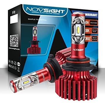 NOVSIGHT 9006 HB4 LED Headlight Bulbs TX SMD LED Chips All-in-One Conversion Kit 6500K Cool White 60W(30Wx2) 10000LM(5000LMx2) 2 Year Warranty