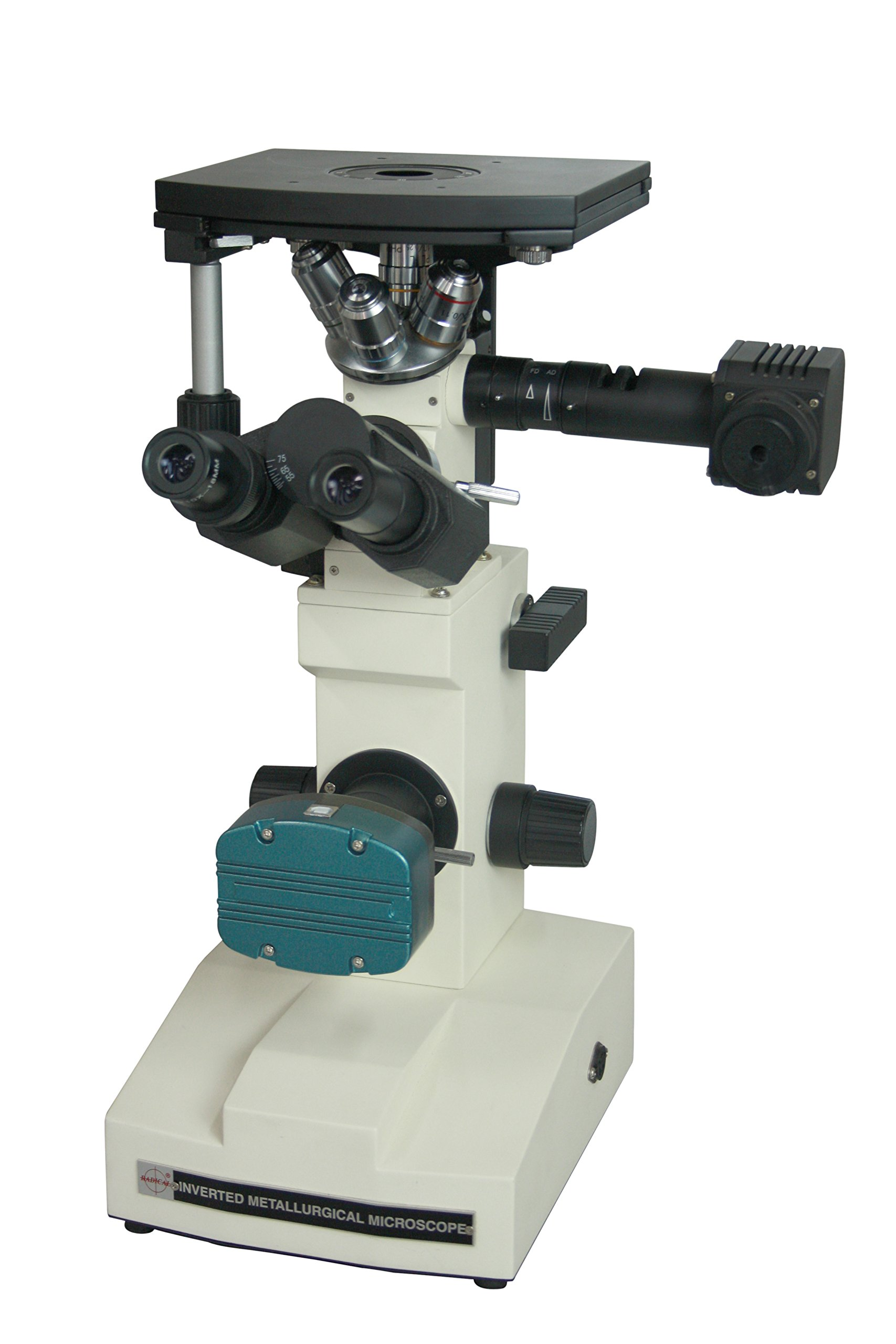 Radical Quality Professional High Quality 600x Inverted Metallurgy Metallography LED Microscope w Polarizing and 3Mpix Camera by Radical