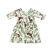 Birdfly Baby Girl Floral Printed T-Shirt Dress Toddler Fun Dresses for Fall Holiday Party Pageant (Deer, 12M)