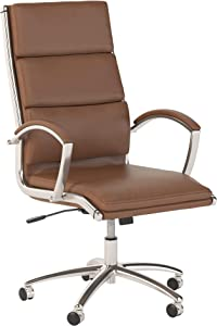 Bush Business Furniture Studio C High Back Leather Executive Office Chair in Saddle Tan