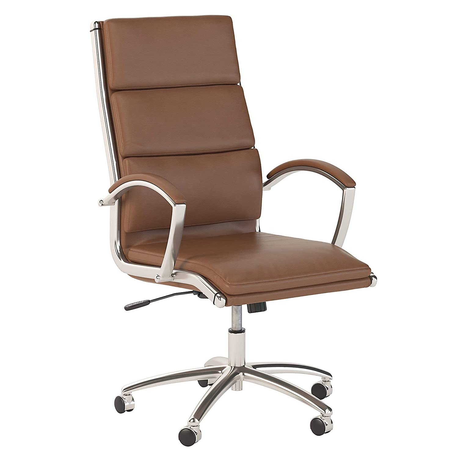 Bush Business Furniture Modelo High Back Leather Executive Office Chair in Saddle Tan