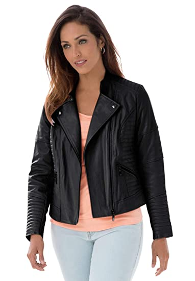 Jessica London Womens Plus Size Quilted Leather Moto Jacket At