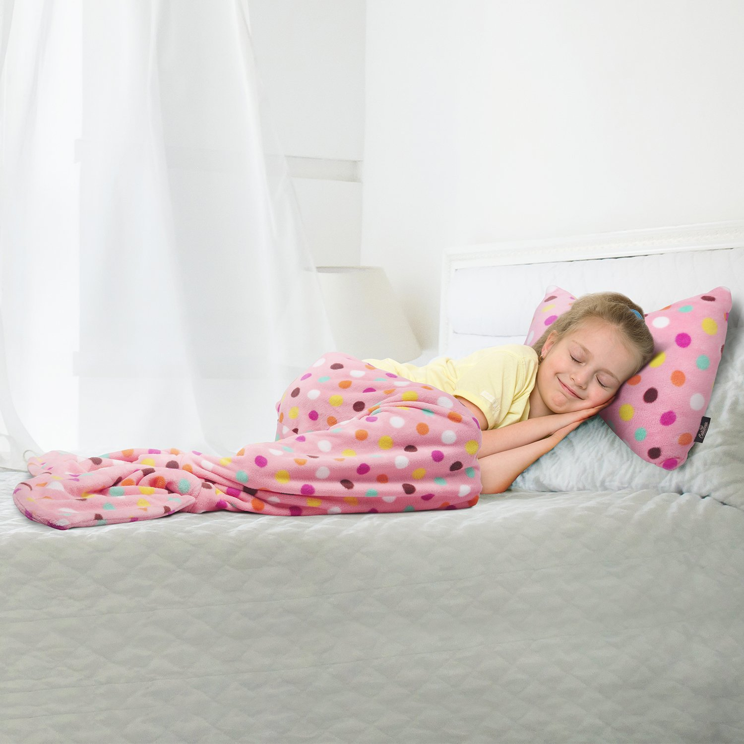 Mermaid Tail Blanket - Super Soft Fannel Fleece Snuggle Sleeping Bag Mermaid Blanket Set for Kids Teens Toddlers Ages 3-12, Bowknot Pillow Included, Catalonia series by Tirrinia, Pink