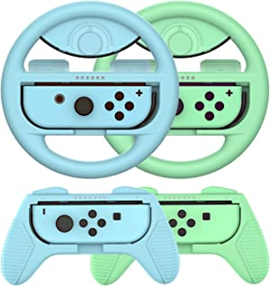 Grip for Nintendo Switch Controller - 4 Pack Animal Crossing Racing Steering Wheel Switch Controller Game Grip Handle Kit Fit for Nintendo Switch Joy-Con Controllers