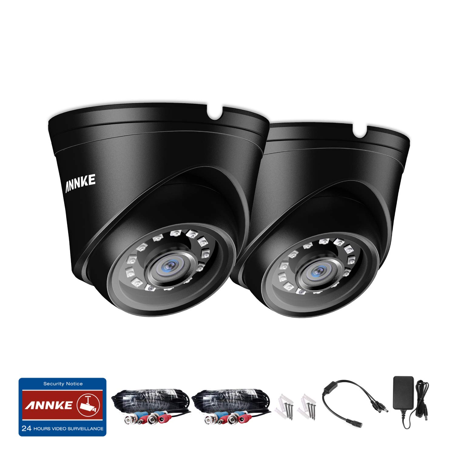 ANNKE 2 Packed 1080P Security Camera 2.0MP Hi-Resolution Indoor Outdoor Dome CCTV Camera with 100ft Super Night Vision, IP66 Weatherproof Housing, Smart IR-Cut