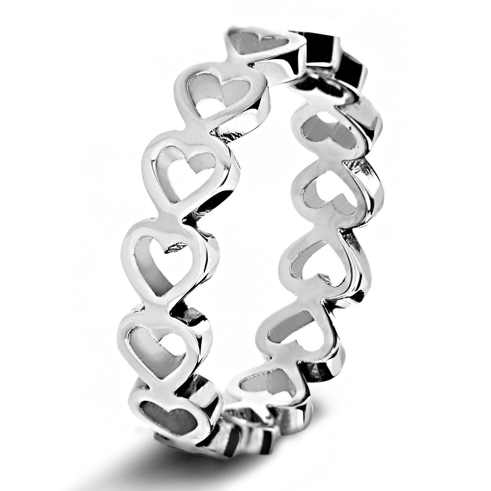 West Coast Jewelry Women's Stainless Steel Open Heart Eternity Ring (5 mm) - Size 9