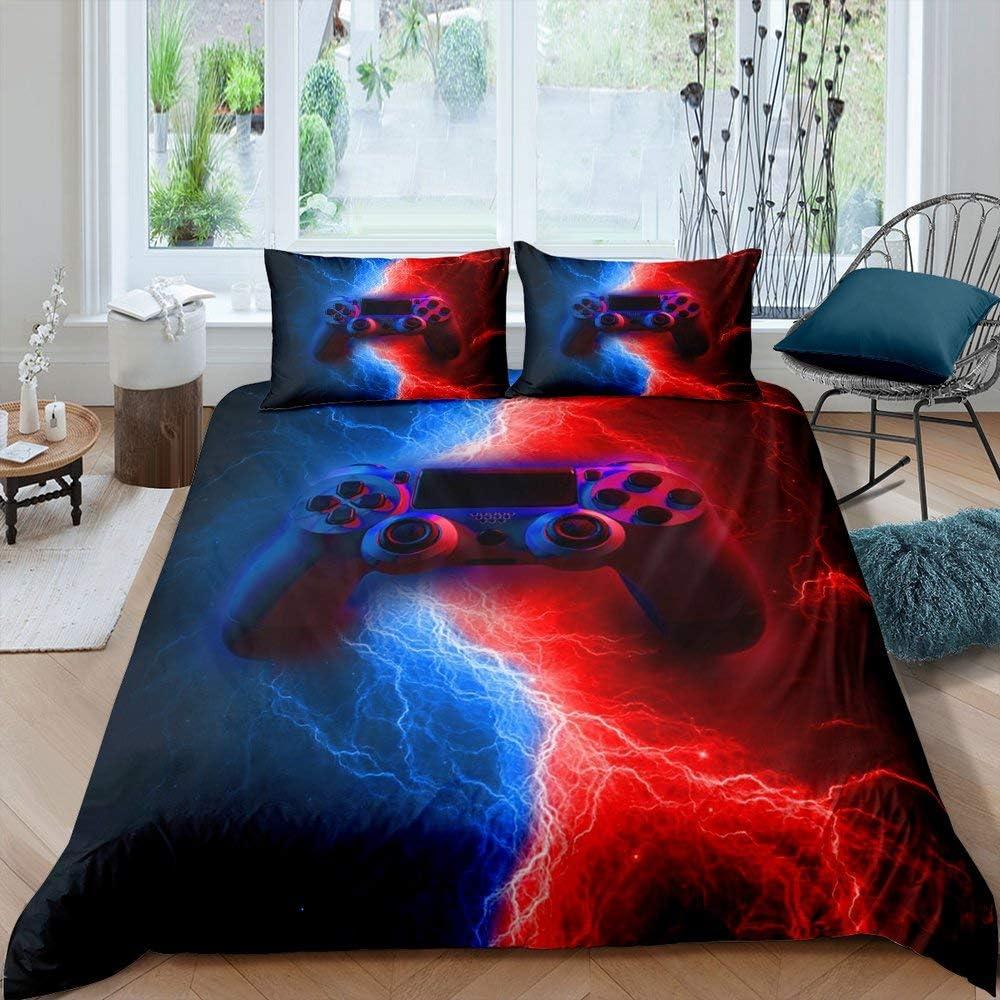 Gamer Gaming Bedding Sets Full Size,Lightnings Gamepad Duvet Cover, Video Games Comforter Cover for Kid Teens Boys Man, Modern Bedroom Decor 3 Pcs Bedding Set,Red Blue