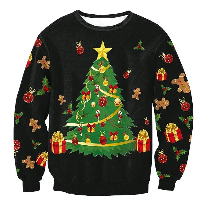 d6fa5a64f Sudaderas Navideñas Unisex Sudadera Navidad Estampadas Jersey Hombre Mujer  Sueter Navideño Reno Sweaters Pullover Cuello Redondo Largas Chica Oversize  ...