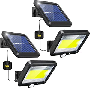 Solar Lights Outdoor Motion Sensor 2 Pack Split LED Solar Flood Lights Security Yard Solar Powered Lights Outside Waterproof IP65 with 3 Lighting Mode 120° Angle for Garden Patio Path