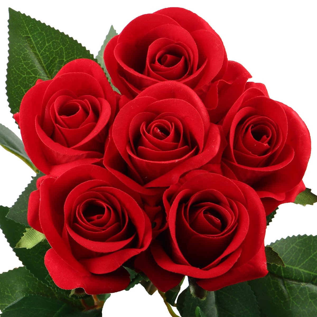 Amazon.com: Artificial Rose Flowers,Fake Silk Bouquet for Wedding ...