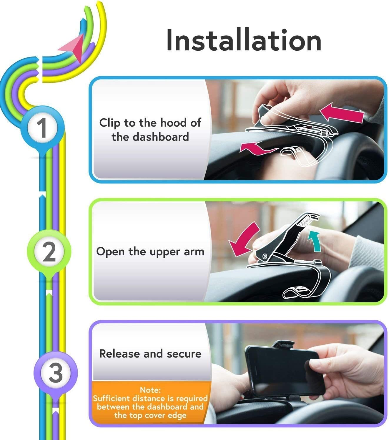 Car Dashboard Clip Non-Slip Durable Compatible with iPhone Xs Max//XR//XS//X//8 Plus//8//7 Plus//7 Samsung Galaxy S10//S9//S8 and Smartphones More Phone Holder Car Cell Phone Holder
