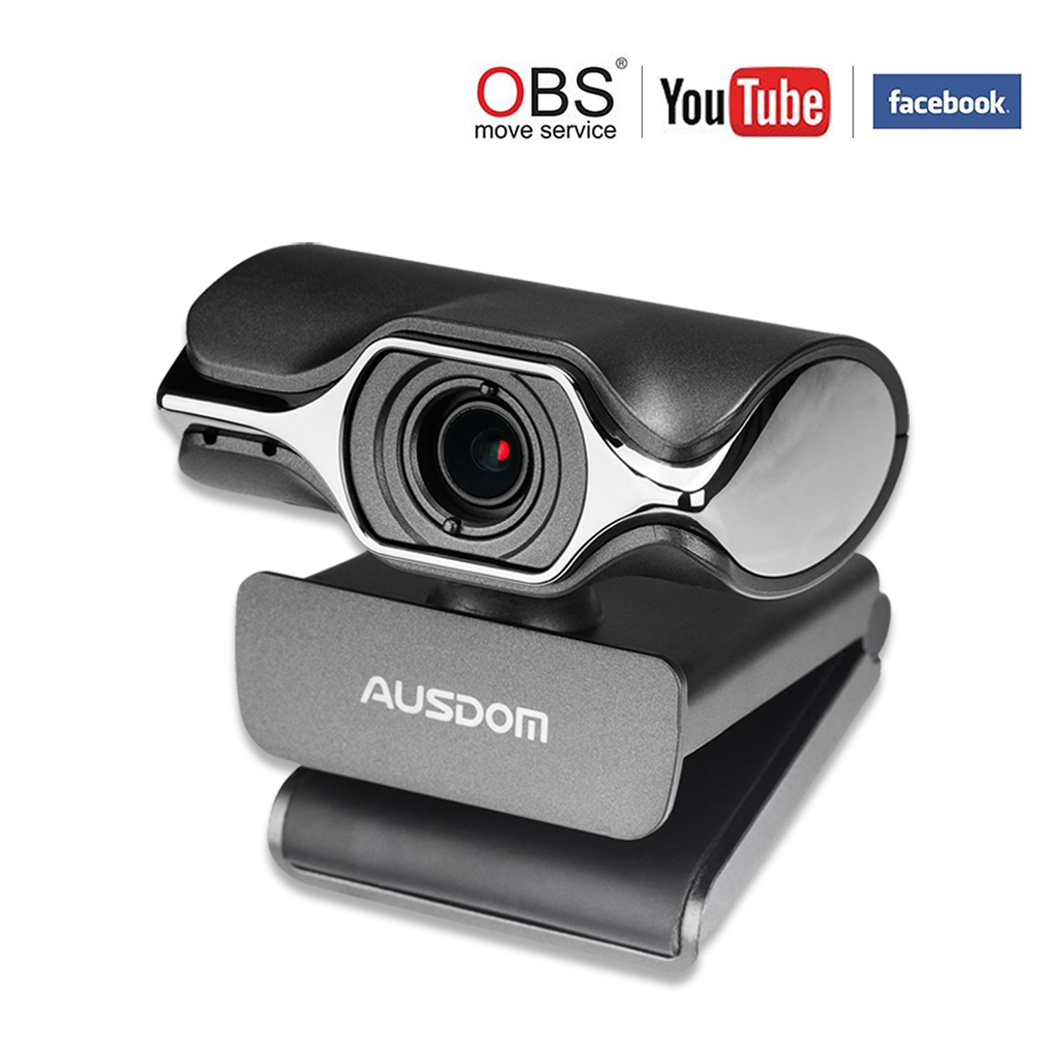 Webcam Streaming 1080P Ausdom Upgraded AW620 Pro Web Camera Desktop PC Laptop Computer Nosie Cancelling Microphone USB Plug Play Windows Mac Skype OBS Live Streaming YouTube Twitch