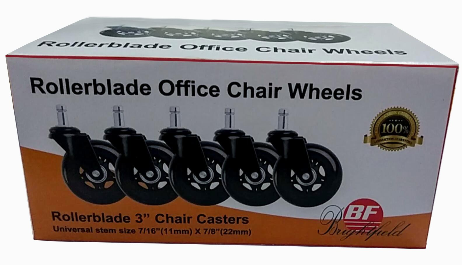 Universal Office Chair Caster Wheels Set of 5 Heavy Duty & Safe for All Floors Including Hardwood 3'' Rollerblade Rubber Replacement for Desk Floor Mats by BF BRIGHTFIELD (Image #5)