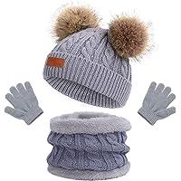 Gorro de Punto Invierno Térmico con Guantes y Bufanda Forro Polar Niños Set Beanie Gorro Sombrero de Punto Invierno…