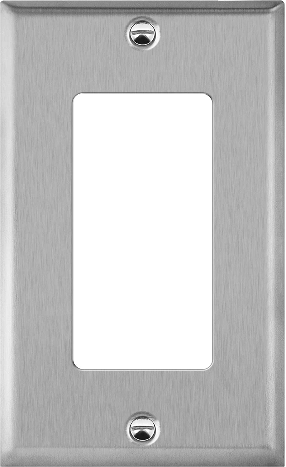 """ENERLITES Decorator Switch or Receptacle Outlet Metal Wall Plate, Corrosion Resistant, Size 1-Gang 4.50"""" x 2.76"""", UL Listed, 7731, 430 Stainless Steel, Silver"""