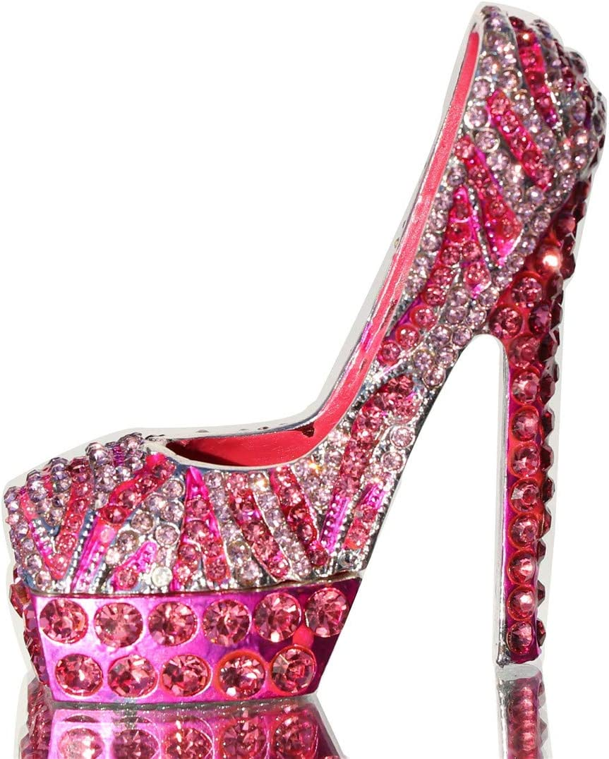 Waltz F Pink Diamond Leopard high Heels Trinket Box Hinged Hand-Painted Figurine Collectible Ring Holder with Gift Box