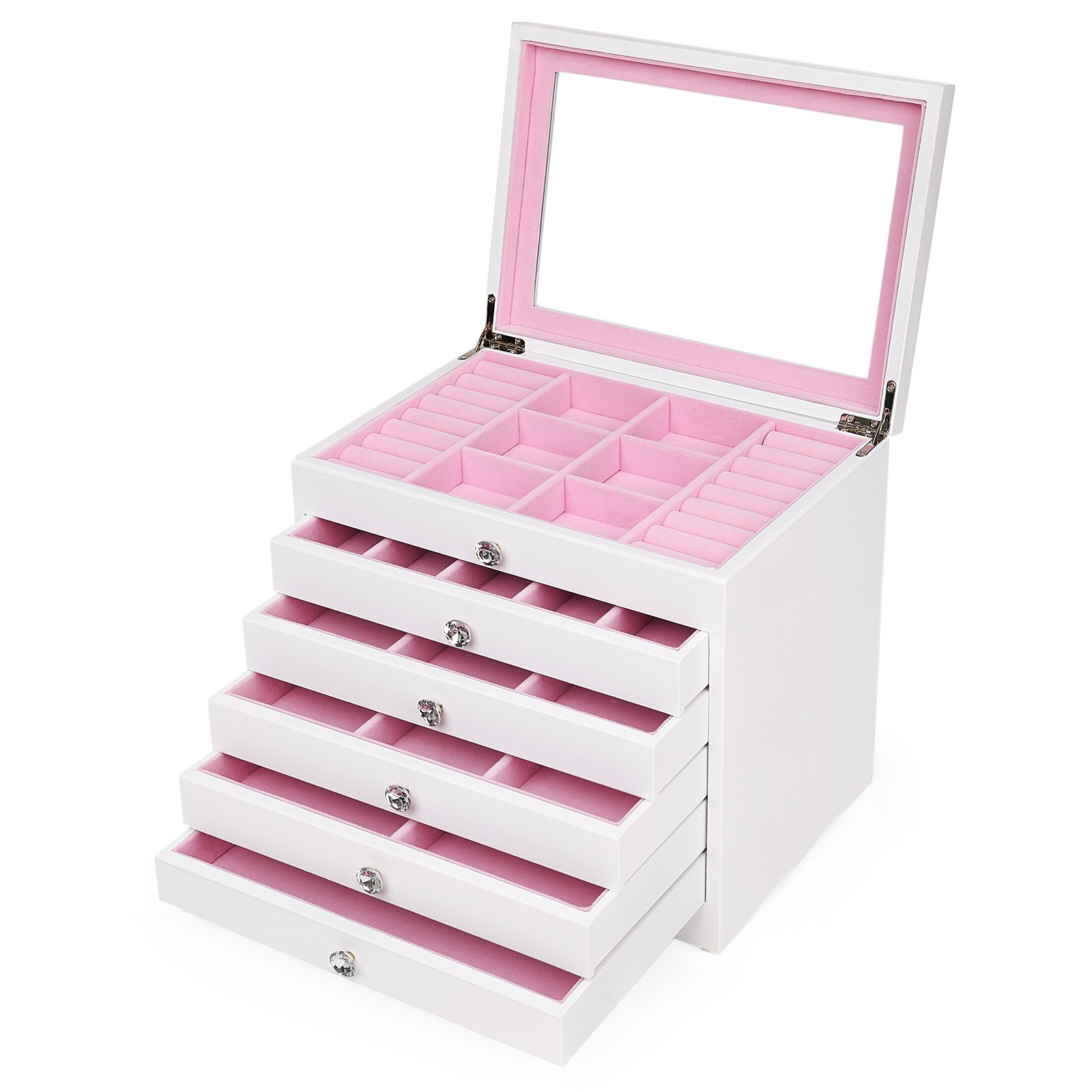 SONGMICS 6-Layer Jewelry Box Extra Large Girls Jewelry Organizer Display Storage Case, Gift for Mom, White and Pink UJOW06W