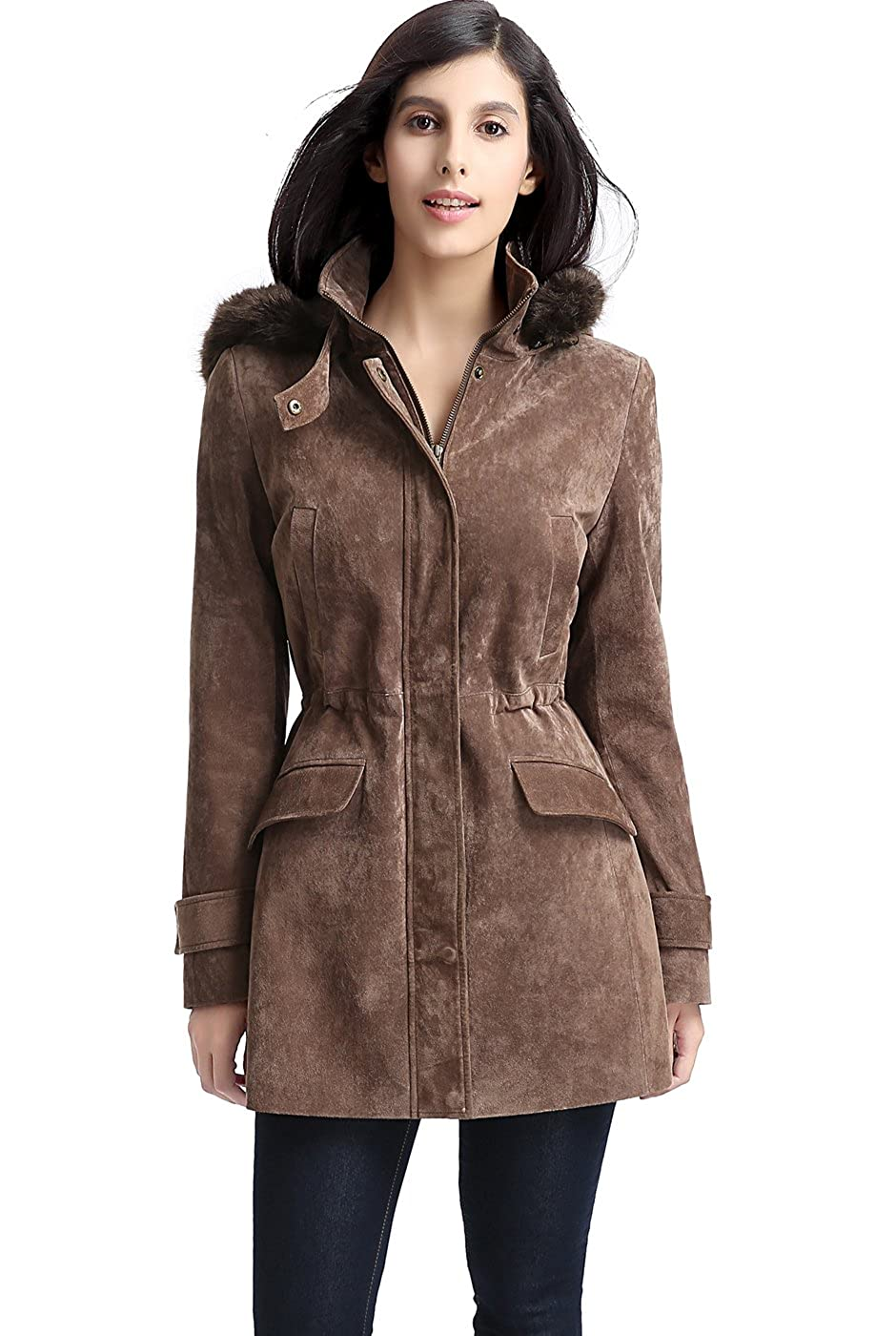 b177bffe8 BGSD Women's Chloe Suede Leather Parka Coat (Regular and Plus Size and  Short)
