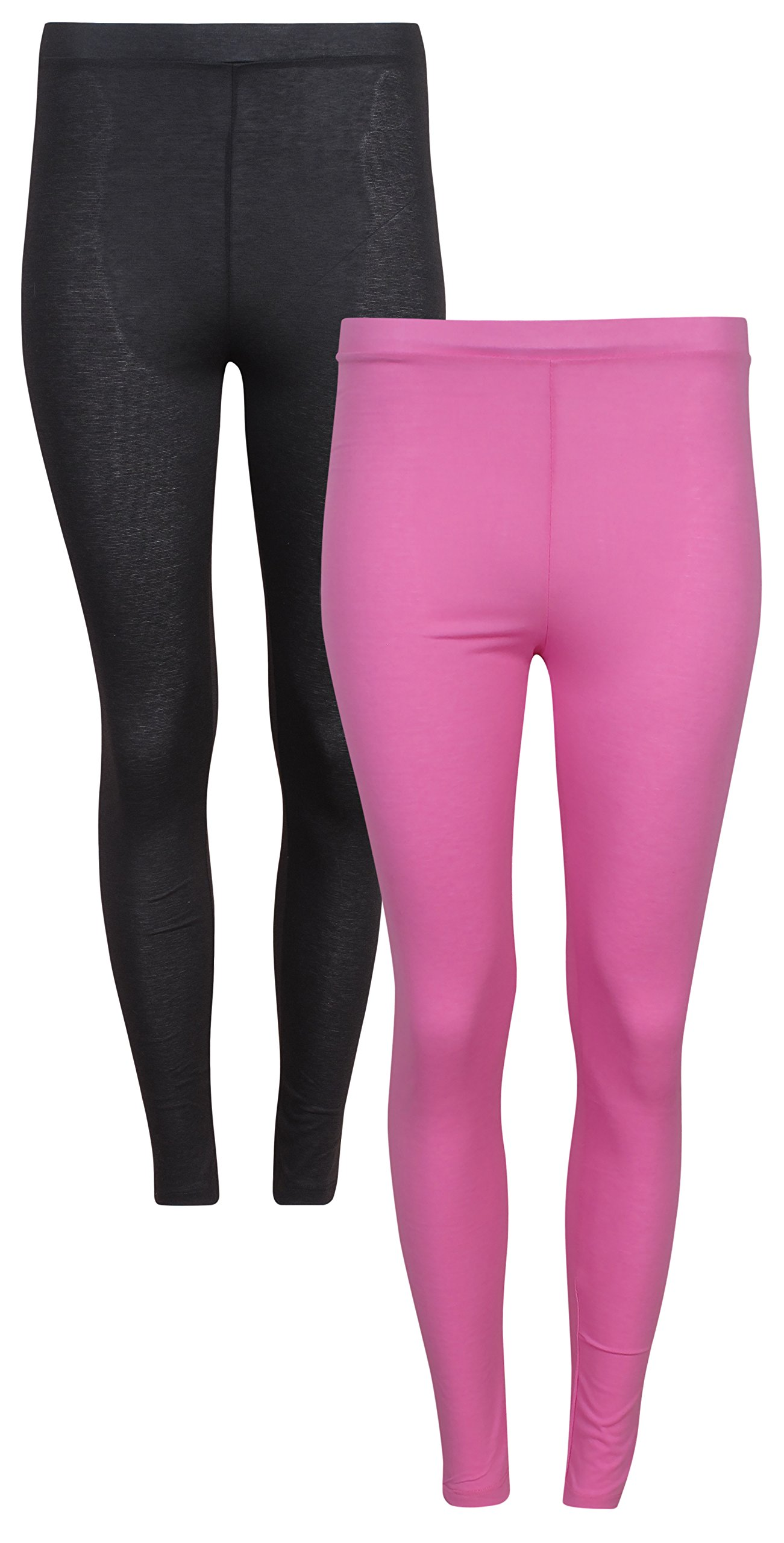 'Tru Fit Women's 2 Pack Performance Thermal Lightweight Base Layer Pant Bottom, Black/Pink, Large'