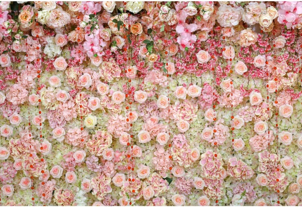 AOFOTO 9x7ft Wedding Scene Backdrop Flowers Wall Purples Macrame Background for Pictures Decorations Pink Curtain Bridal Shower Photography Marriage Proposal Girl Birthday Photo Shoot Props Vinyl