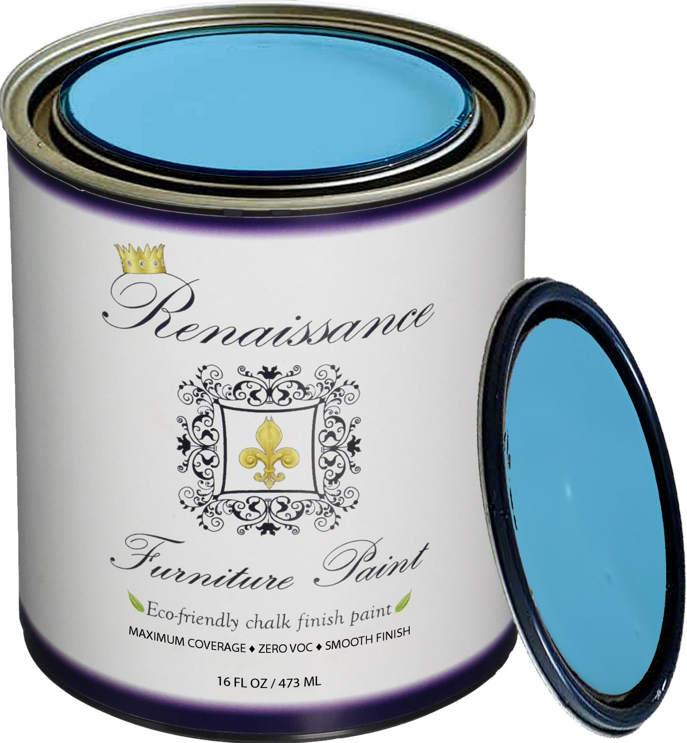 Renaissance Chalk Finish Paint - 1 Pint - Chalk Furniture & Cabinet Paint - Non Toxic, Eco-Friendly, Superior Coverage - Celestial Blue (16oz) Retique It® RFP-P16-CelestialBlue