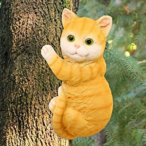 LIMEIDE Cat Tree Hugger Tree Garden Peeker Polyresin Outdoor Tree Sculpture - Gifts and Garden Décor Statue Face for Trees, 9 x 4.7 inch (Orange)