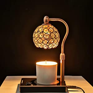 Candle Warmer, Crystal Lampshade Candle Lamp Warmer, Electric Candle Wax Warmer, No Flame Candle Lamp Adjustable Height and Brightness Warmer Lamp for Bedroom Decor(Gold)