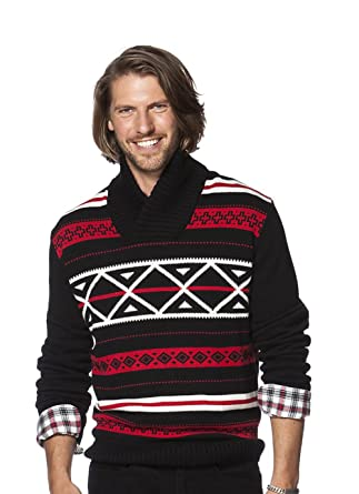 35b03fd511 Chaps Men s Classic Fit Nordic-Inspired Shawl-Collar Sweater ...