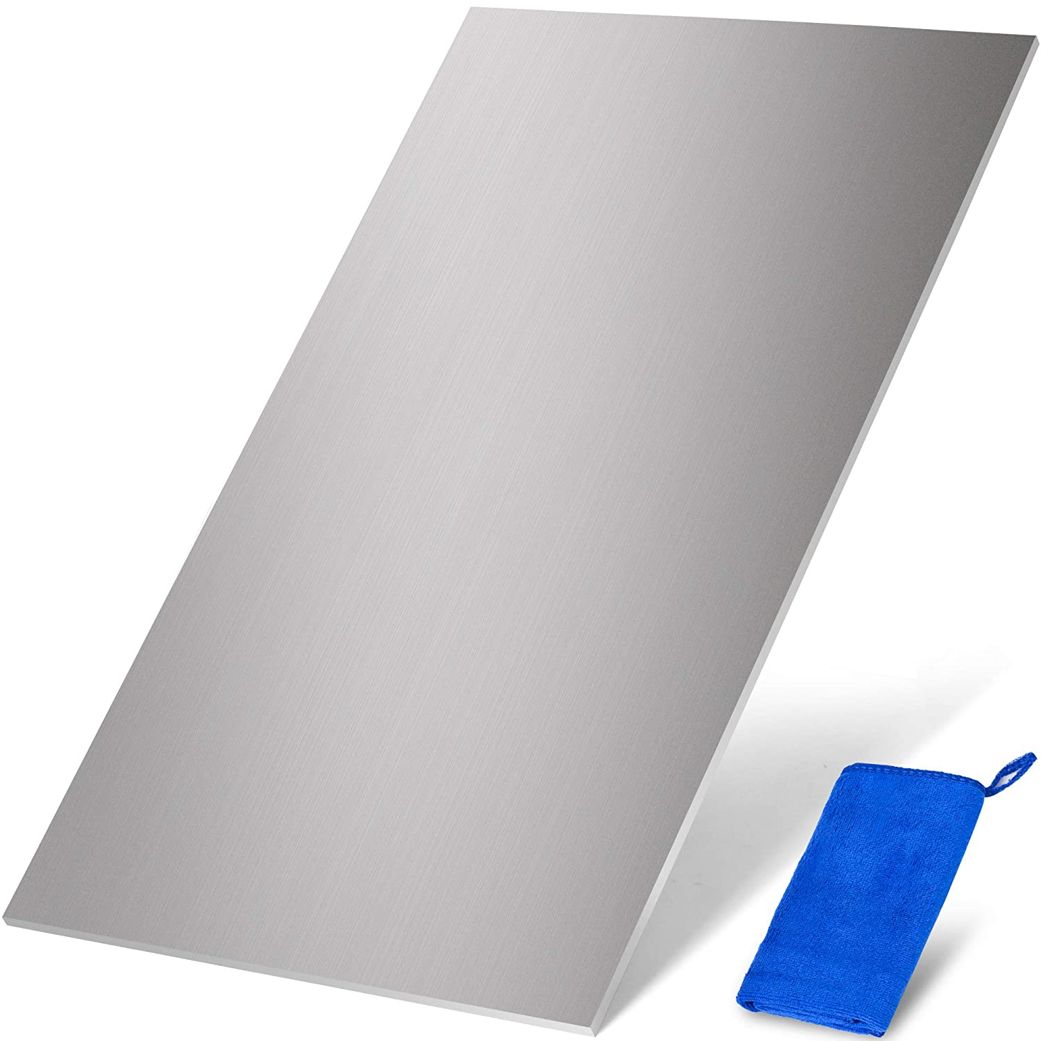 6061 Aluminium Metal Sheet - 12 x 6 x ⅛ Inch - Flat Plain Plate Panel Finely Polished and Deburred - Includes Microfiber Towel