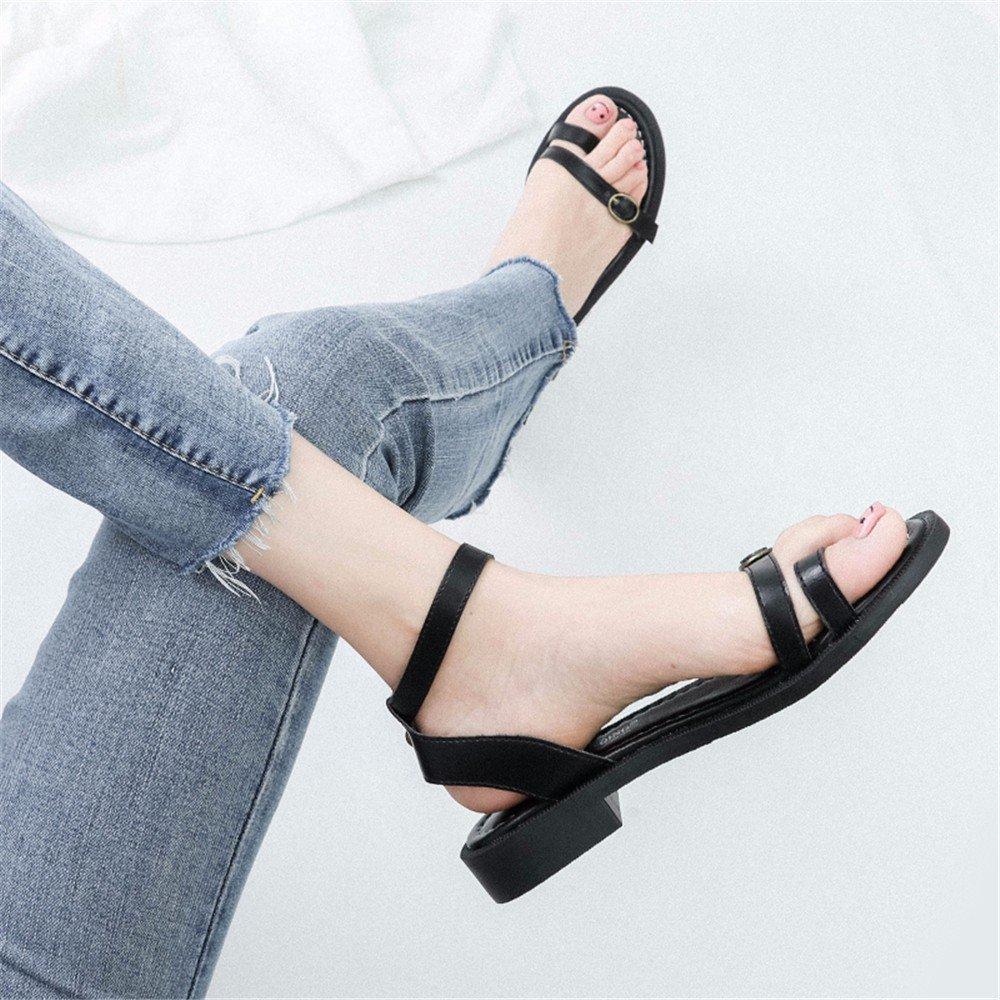 YMFIE Classico Classico Classico moda rétro semplice toe toe sandali estivi a fondo piatto scarpe da spiaggia dimensione europea  34-43,40 UE,nero 8c5e4f