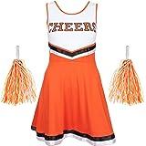 Redstar Fancy Dress - Disfraz de Animadora con Pompones - para Mujer - 6 Colores y Tallas 34 a 44 - Naranja - S