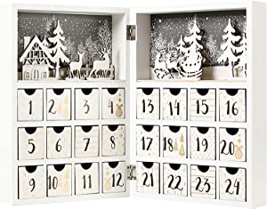 PIONEER-EFFORT Christmas Wooden Advent Calendar Book with Drawers for Adults Kids White Christmas Countdown Reindeer Decoration (White&Gold)