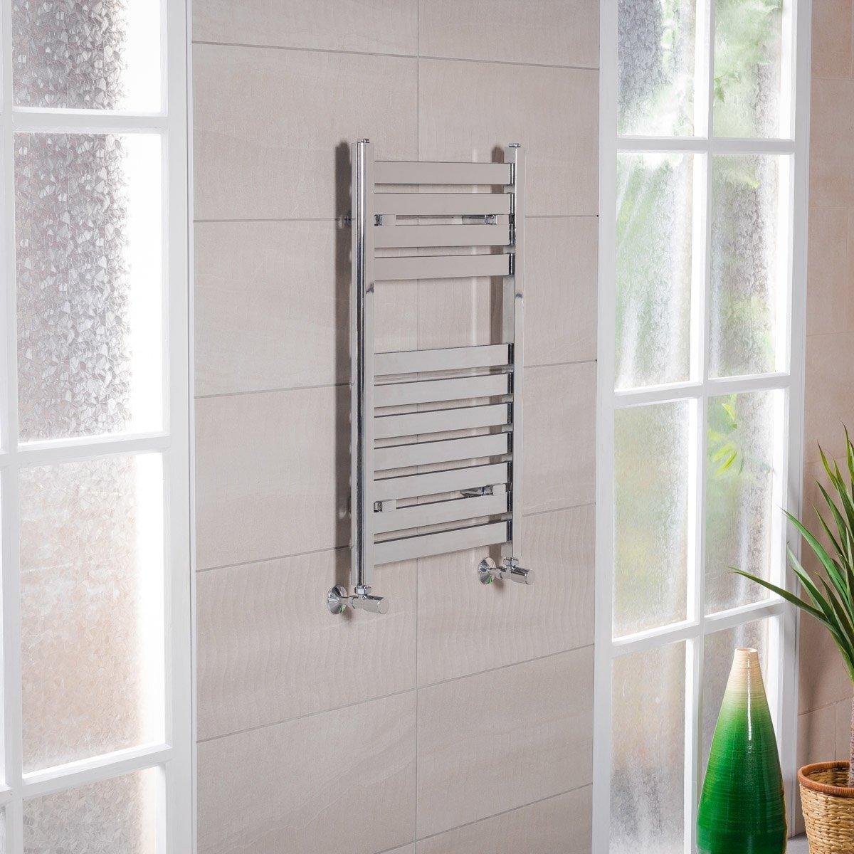 Boden Scaldasalviette Design Termoarredo Lusso Calorifero Bagno 800 x 500mm Interasse: 450mm – 379 Watt Cromato WarmeHaus