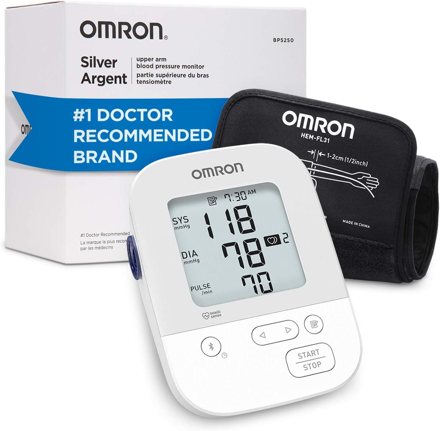 Amazon Com Omron Silver Blood Pressure Monitor Upper Arm Cuff Digital Bluetooth Blood Pressure Machine Storesup To 80 Readings Health Personal Care