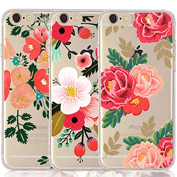 the best attitude e3bb5 f2f6a iPhone 5 5S SE Case, [3-Pack] CarterLily Watercolor Flowers Floral Pattern  Soft Clear Flexible TPU Back Case for iPhone 5 5S SE - Red Flowers (Flowers  ...