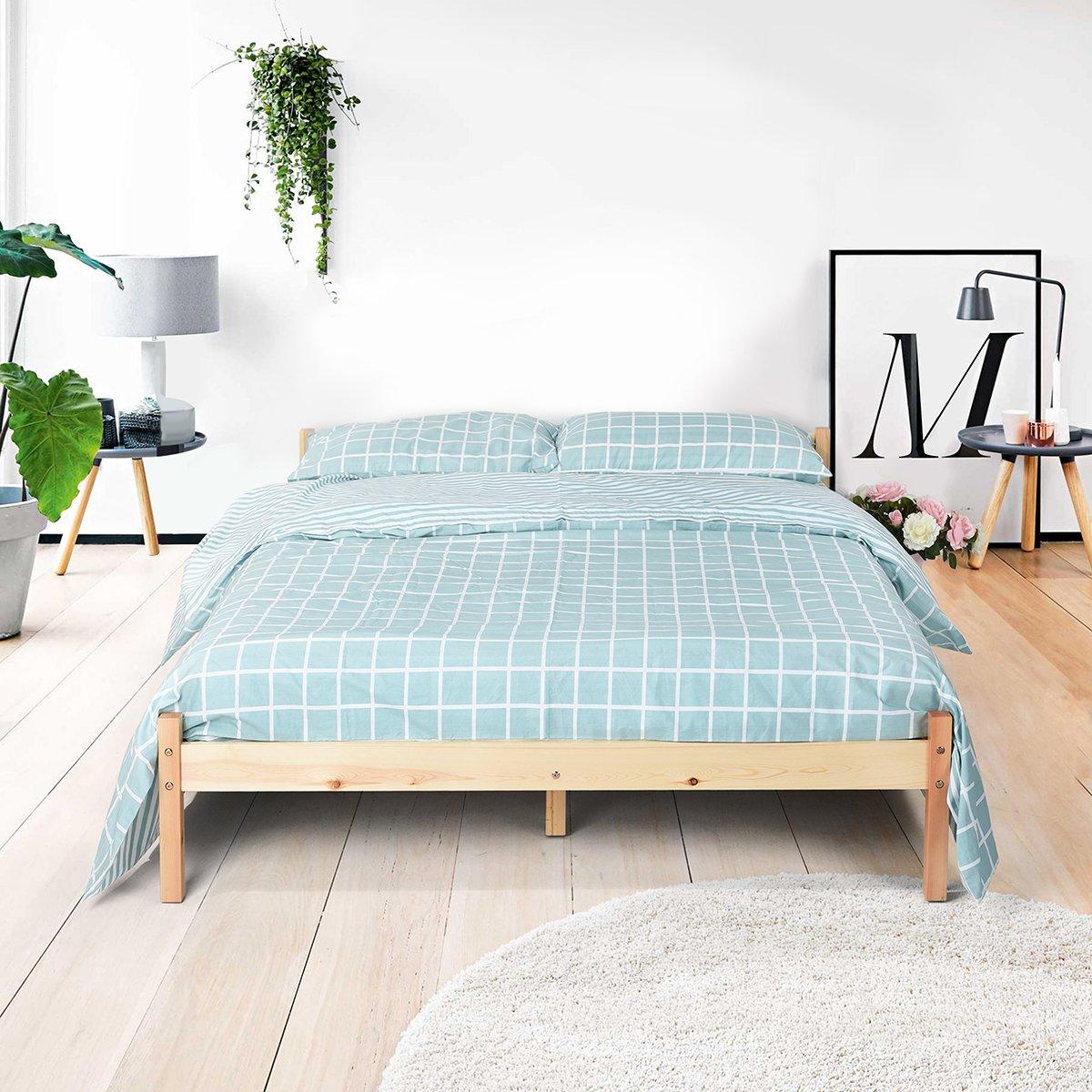Naturel Pin solide Cadre de lit en bois massif Lit tiroir Lot Original Couleur (cadre de lit queen)