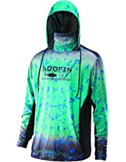 Performance Fishing Hoodie with Face Mask Sunblock Shirt Hooded Long Sleeve with Drawstrings Pocket