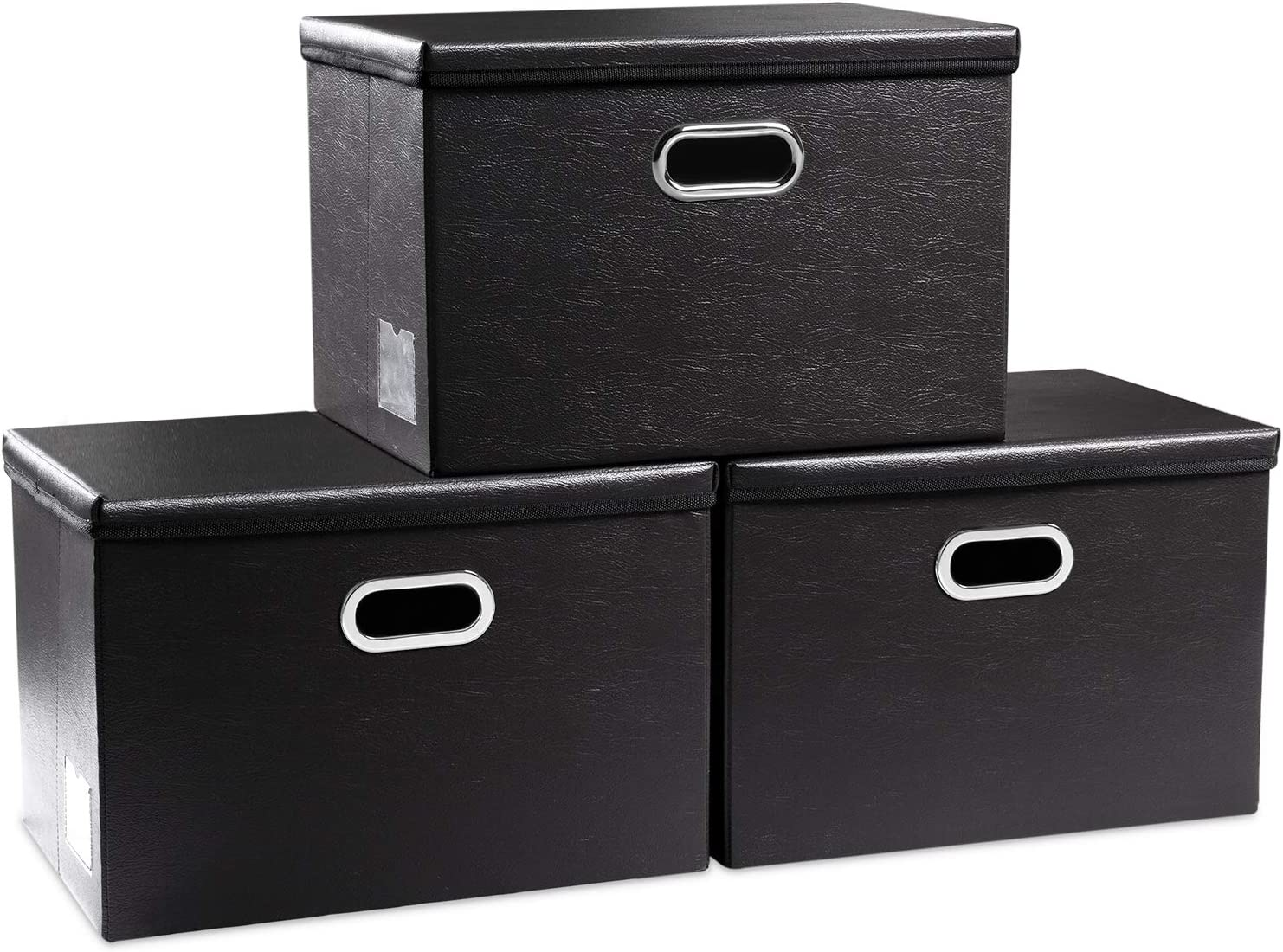 Prandom Large Foldable Storage Bins with Lids [3-Pack] Leather Fabric Collapsible Storage Boxes Organizer Containers Baskets Cube with Cover for Home Bedroom Closet Office Black(17.7x11.8x11.8)
