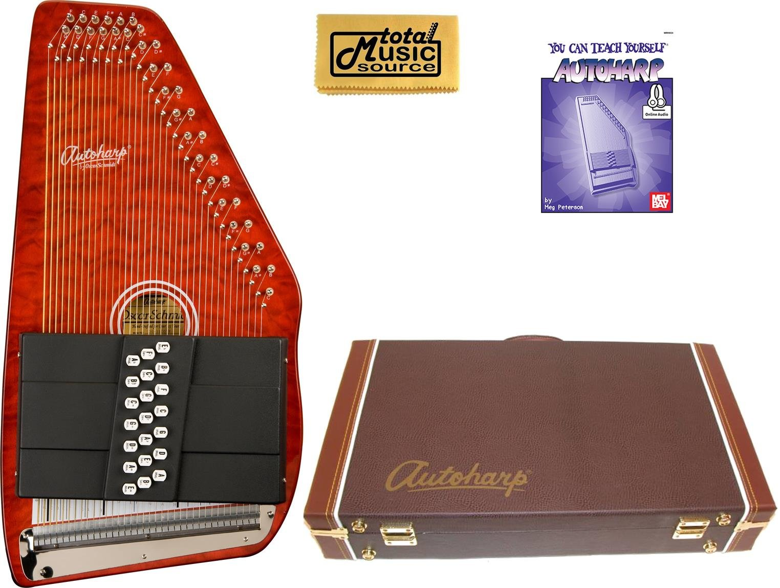 Oscar Schmidt 21 Chord Classic Autoharp, Quilted Maple Top, Trans Red, OS12CQTR