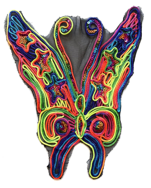 ecusson papillon pailettes fluo usa 30x25cm patche badge sur toile tulle