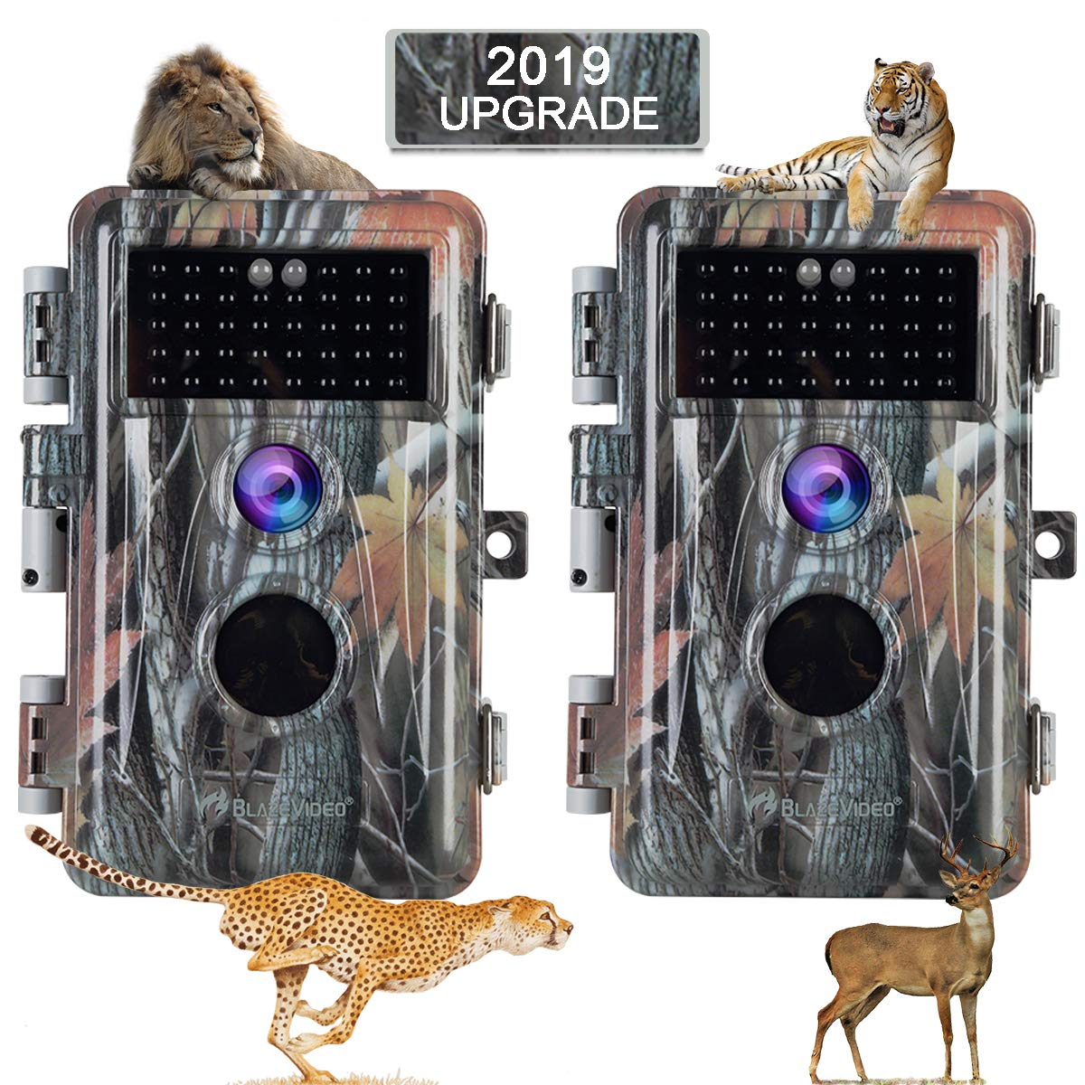 [2019 Upgraded] 2-Pack Night Vision Game Trail Cameras 16MP 1080P No Glow Hunters Deer Hunting Cams IP66 Waterproof & Password Protected Motion Activated Photo & Video Model, Time Stamp & Time Lapse by BlazeVideo