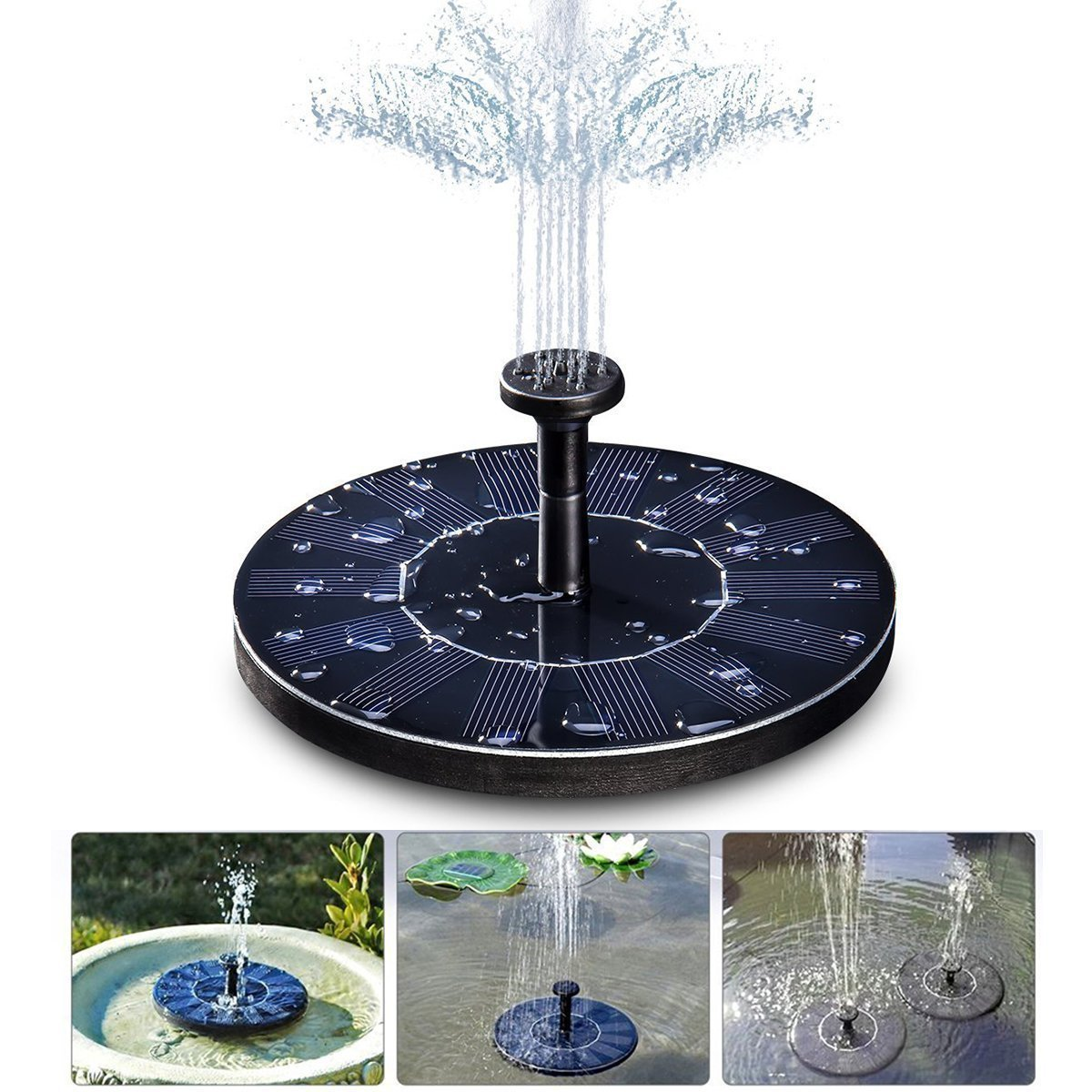 TCCSTAR Solar Fountain,Floating Solar Pump Bird Bath Fountain Self powered For Garden and Patio Watering (Black)